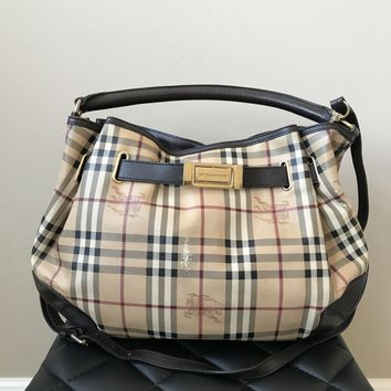 Burberry Check Canvas Brown Leather Crossbody Bag