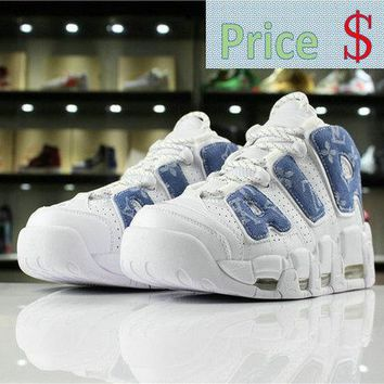 Latest Nike Air More Uptempo PRM OG LV 921948-101 White Blue cowboy shoe