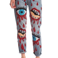 ONLY 3! BLEEDING EYES AND MOUTH JEANS