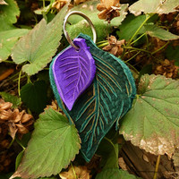 NEW Key Ring Double Leather Leaf / Handmade Keychain Key Fob Purse Accessories Leaves Silver Ring Elf Fairy Pixie Faerie Pan Woodland  Gift
