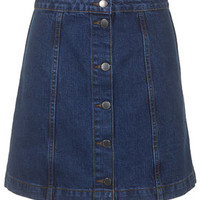MOTO Button Front A-Line Skirt - Mid Stone