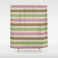 Girly Nature Stripes Shower Curtain by KCavender Designs