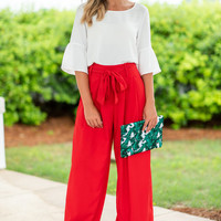 Bossy And Bold Pants, Red