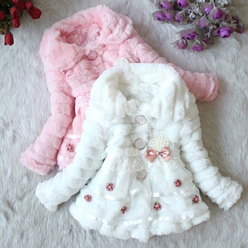 Girls Junoesque Baby Faux Fur Fleece Lined Coat Kids Winter Warm Jacket  Z_G