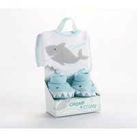 Baby Aspen Chomp & Stomp Shark Bib & Booties Set - Baby (Blue)