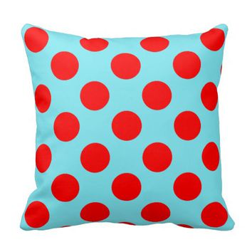 Red Polka Dots, choose background colour Pillow