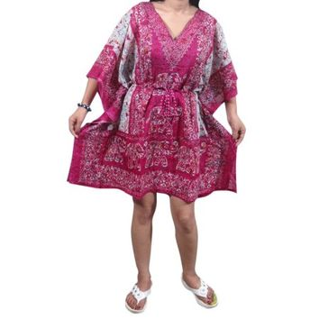 Mogul Women Tunic Beach Kaftan Printed Pink V-Neck Cover Up Kaftan Tops - Walmart.com