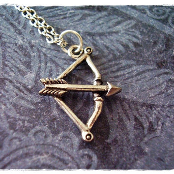 Archer Bow and Arrow Necklace - Antique Pewter Bow and Arrow Charm on a Delicate 18 Inch Silver Plated Cable Chain