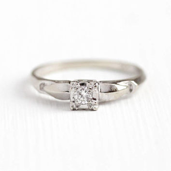 Vintage Diamond Ring - 14k White Gold Diamond Engagement Solitaire Ring - 1940s Size 5 3/4 Retro Illusion Head Fishtail Prong Fine Jewelry
