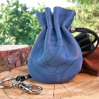 Small Blue Floral Pouch, Floral Leather Pouch, Travel Jewelry Bag, Navy Blue Rose,