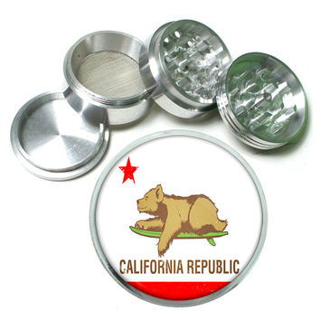 "California Republic Surfing Bear State Flag 4 Piece Silver Alumium Grinder 2.5"" Cali"