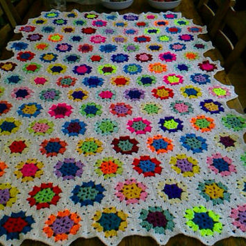 CROCHET BLANKET  Handmade hexigan design with by nannycheryl