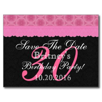 Pink and Black Lace Save the Date Birthday V106 Post Card