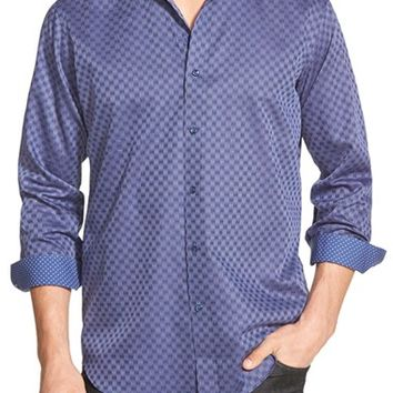 Men's Big & Tall Bugatchi Classic Fit Check Sport Shirt,