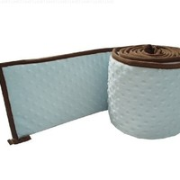 American Baby Company Minky Dot Portable/Mini Crib Bumper with Chocolate Trim, Blue