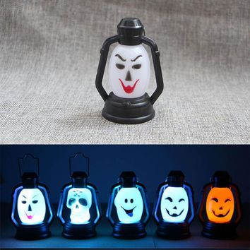 Mini Funny LED Colorful Hallowmas Lantern Lamp Portable Hanging Night Light Pumpkin Witch Ghost Skull Light Halloween Gift