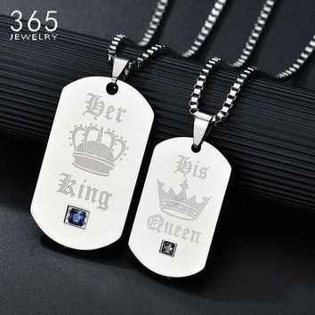 Promise Jewelry Stainless Steel King And Queen Lover's Pendant Necklace CZ Stone Crown Necklace For Couple Drop Shipping