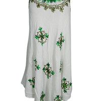 Summer Casual Everyday Tank Dress FLORAL Embroidered Sleeveless Sundress S