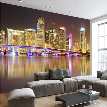 beibehang Custom Mural Wallpaper Any size 3D Modern minimalist Miami city night reflections Mural background wall wallpaper