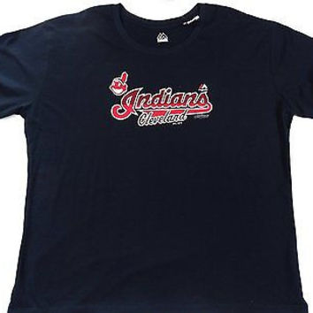 Cleveland Indians Majestic Short Sleeve T Shirt Ladies 1XL