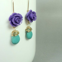 Cool long dangle earrings with wire wrapped turquenite/ purple flower and blue howlite earrings