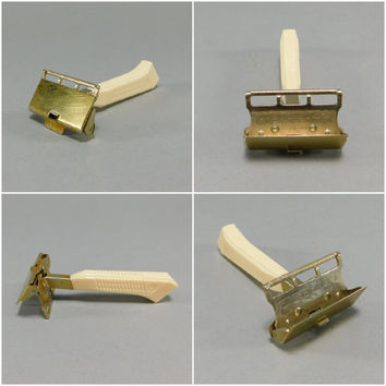 1930's Vintage / Gem Safety Razor / Single Edge Safety Razor / Travel Razor / Vintage Safety Razor / Steampunk Razor / Plastic Handle / Gold