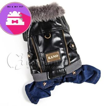 Dog clothes thermal leather clothing punk motorcycle jacket turned installed denim patchwork pet clothes