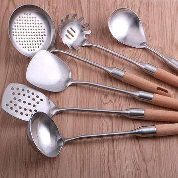 New 1 Pcs High Quality Wooden Handle Stainless Steel Cookware Set scoop shovel Kitchen Tools gadgets Household
