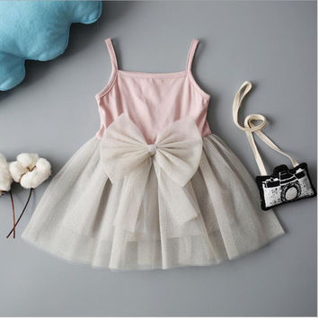 Baby Girls Dress Cotton Sling White Chiffon Tutu Dresses For Girls Party Wedding Children's Clothing 2017 Summer Kids Clothes
