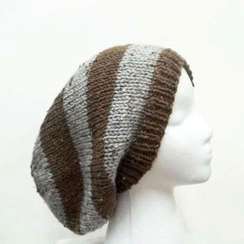 Slouch hat, knitted, brown and gray textured, slouchy beanie   5118