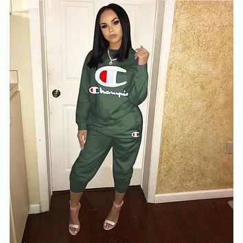 Champion Fashionable Women Casual Long Sleeve Top Pants Set Two-Piece Army Green