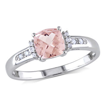6.0mm Cushion-Cut Pink Morganite and Diamond Accent Engagement Ring in 10K White Gold