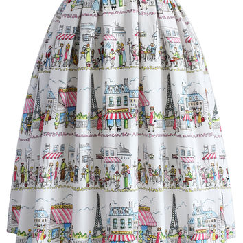 A Date with Paris Pleated Skirt Multi