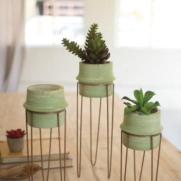 Set 3 Clay Candle Holder Planters With Copper Finish Bases