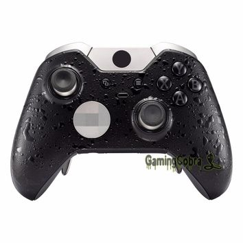 Custom Textured Black Top Front Replacement Shell with Accent Rings for Xbox One Elite Controller