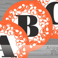 Halloween banner letters, large banner alphabet, number, orange ornate circle 6,8 in, printable PDF file, for party banner, instant download