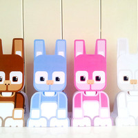 Kids Easter Craft Activity. Easter Bunnies printable paper toy. Instant download. Make you own Easter Bunny cards, banners and bunting!
