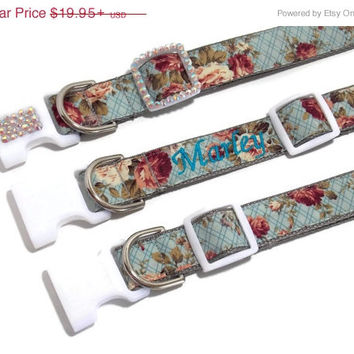 ON SALE Personalized Country Chic Bling Dog Collar