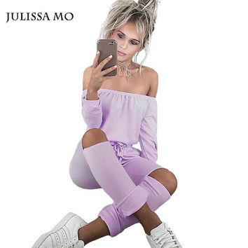 Julissa Mo Off Shoulder Jumpsuit New Autumn Long Sleeve Rompers Womens Jumpsuit Sexy Club Party Jumpsuits Hole Rompers for Women
