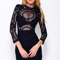Black Crochet Lace Long Sleeve Mini Bodycon Dress