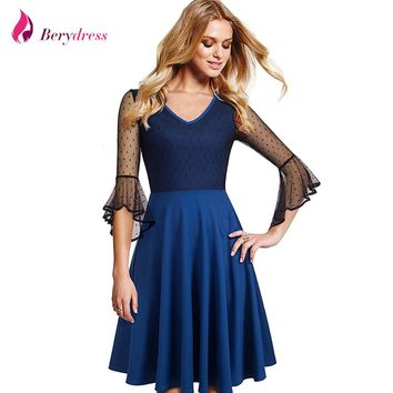 Berydress Elegant Women Blue Vestidos Patchwork 3/4 Flare Sleeve Wedding Party A-Line Knee-Length Dresses Short
