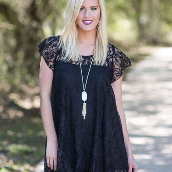 Stay With Me Lace Tunic - Black