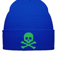 IRISH SCULL EMBROIDERY HAT  - Beanie Cuffed Knit Cap