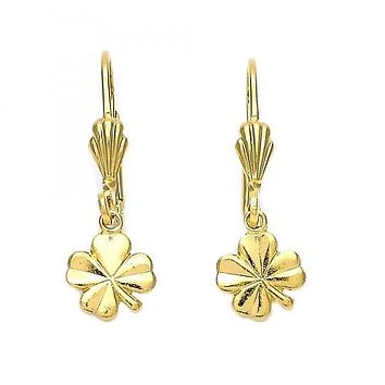 Gold Layered 5.084.021 Dangle Earring, Four-leaf Clover Design, Diamond Cutting Finish, Gold Tone