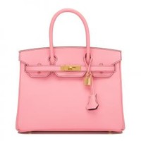 Hermes Birkin Bag 30cm HSS SO Bi-color Rose Confetti and Crocus Epsom Gold Hardware | World's Best