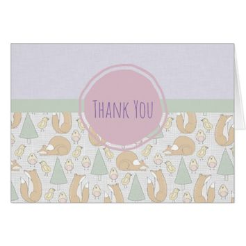 Cute Woodland Creatures Pattern Thank You Card