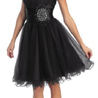 Strapless Cocktail Party Junior Prom Dress #648 (4, Black)