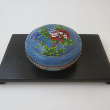 Asian Blue Cloisonne Covered Box Floral Enameling