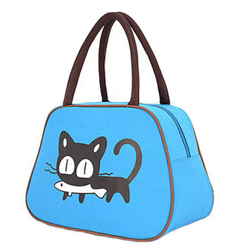 Cute Cat Fashion Lunch Tote Bag Traveling Camping Working Lunch Bag,Blue