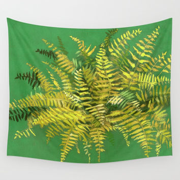 Golden Fern, floral art, green and yellow Wall Tapestry by Clipso-Callipso